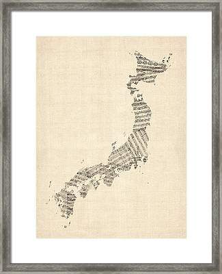 Old Sheet Music Map Of Japan Framed Print by Michael Tompsett