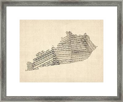 Old Sheet Music Map Of Kentucky Framed Print by Michael Tompsett