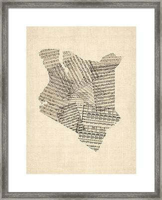 Old Sheet Music Map Of Kenya Map Framed Print