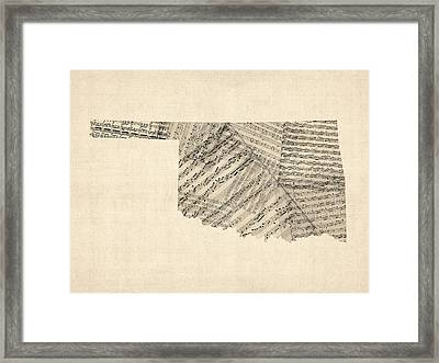Old Sheet Music Map Of Oklahoma Framed Print by Michael Tompsett