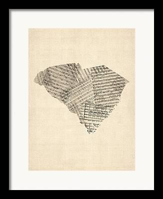 South Carolina Digital Art Framed Prints