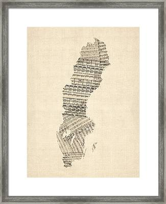 Old Sheet Music Map Of Sweden Framed Print by Michael Tompsett