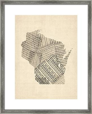Old Sheet Music Map Of Wisconsin Framed Print by Michael Tompsett