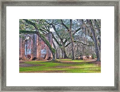 Old Sheldon Church Angled With Tombs Framed Print by Scott Hansen