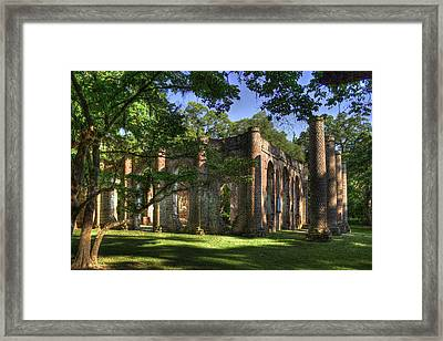 Old Sheldon Church Near Beaufort Sc Framed Print by Reid Callaway