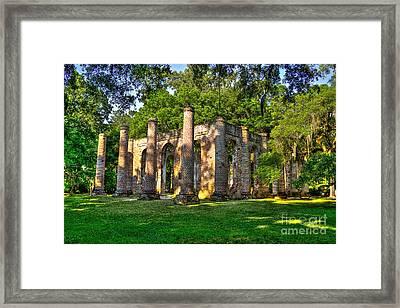 Old Sheldon Church Ruins In South Carolina Framed Print by Reid Callaway