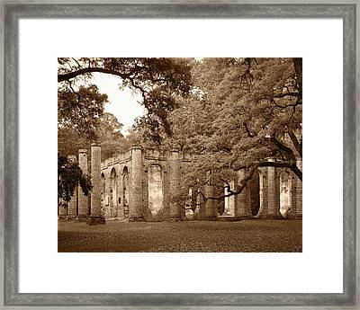 Old Sheldon Church - Sepia Framed Print
