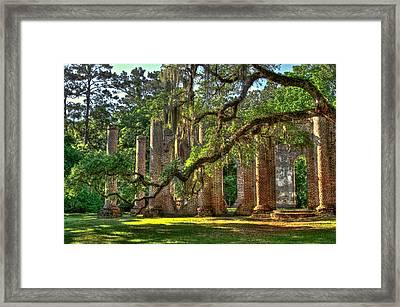 Old Sheldon Church Sundown Oak Framed Print by Reid Callaway