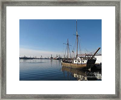 Old Ship In Calm Water Harbor Framed Print by Kiril Stanchev