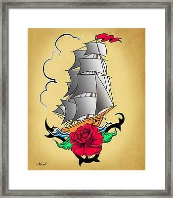 Old Ship Tattoo  Framed Print