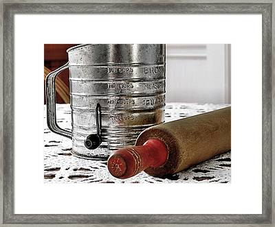 Old Sifter And Rolling Pin Framed Print by Janice Drew
