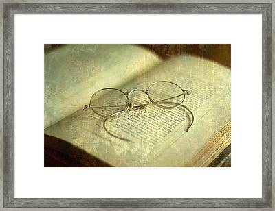 Old Silver Spectacles And Book Framed Print by Suzanne Powers