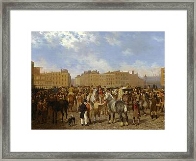 Old Smithfield Market, London Signed In Brown Paint Framed Print by Litz Collection
