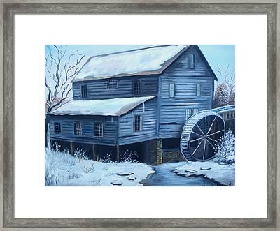 Old Snow Covered Mill Framed Print by Glenda Barrett