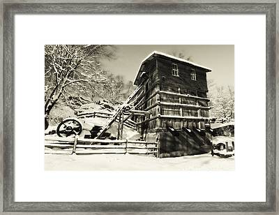 Old Snow Covered Quarry Mill Framed Print