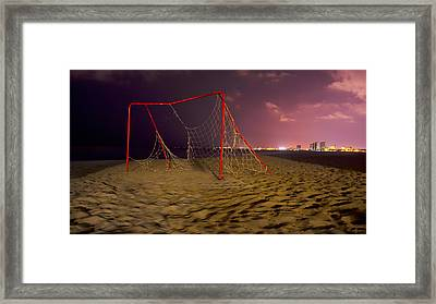 Old Soccer Net Framed Print by Aged Pixel