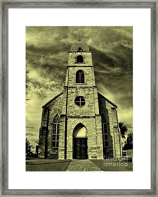 Old St. Mary's Church In Fredericksburg Texas In Sepia Framed Print