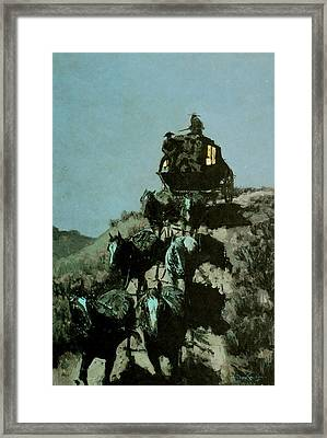 Old Stage Coach Of The Plains Framed Print by Frederic Remington