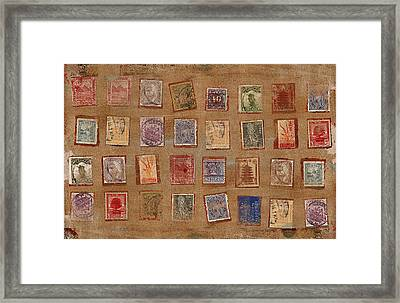 Old Stamp Collection Framed Print by Carol Leigh