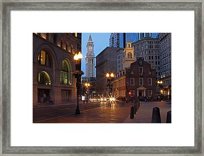 Old State House And Custom House In Boston Framed Print