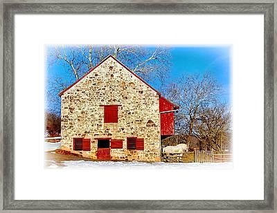Old Stone Barn Framed Print by Carolyn Derstine