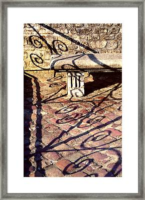 Framed Print featuring the photograph Old Stone Bench by Mary Bedy