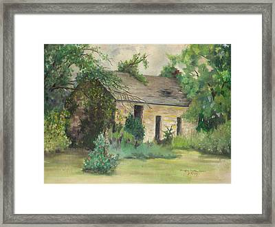 Old Stone Building In Kansas Framed Print by Sheila Kinsey