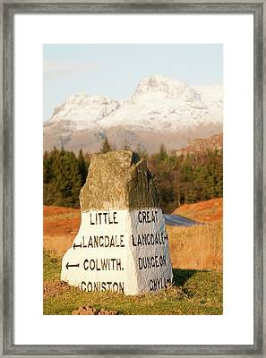 Old Stone Road Sign In Langdale Framed Print by Ashley Cooper