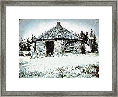 Old Stone Schoolhouse In Winter - South Canaan Framed Print by Janine Riley