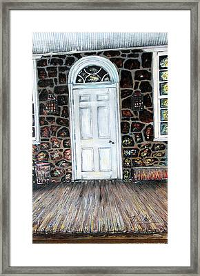 Old Stone Store Front Door Framed Print by Martin Way