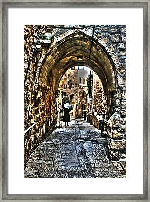 Framed Print featuring the photograph Old Street In Jerusalem by Doc Braham