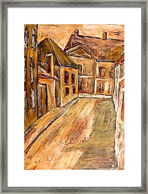 Old Street In The Old Transylvanian City Framed Print by Ion vincent DAnu