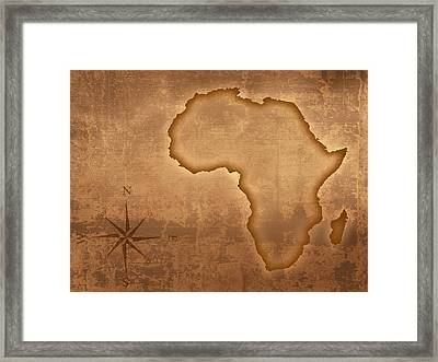 Old Style Africa Map Framed Print by Johan Swanepoel