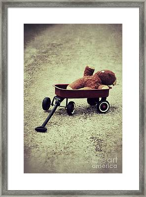 Old Teddy Bear In Red Wagon Framed Print by Birgit Tyrrell
