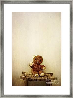 Old Teddy Bear Sitting On Stool Framed Print by Birgit Tyrrell