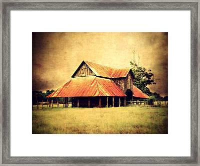 Old Texas Barn Framed Print by Julie Hamilton