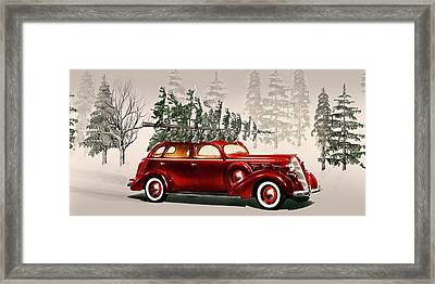 Old Time Christmas Tradition Tree Cutting  Framed Print by David Dehner