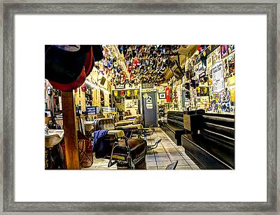 Old Time Downtown Barbershop Framed Print by Jon Berghoff