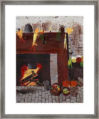 Old Time Fire Place Framed Print