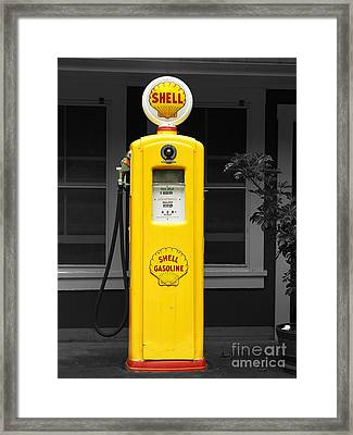 Framed Print featuring the photograph Old Time Gas Pump by David Lawson