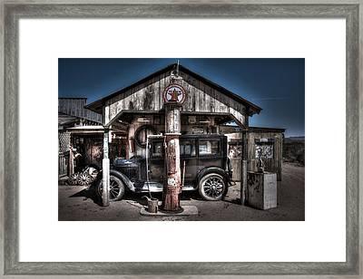 Old Time Gas Station - 1927 Dodge Framed Print