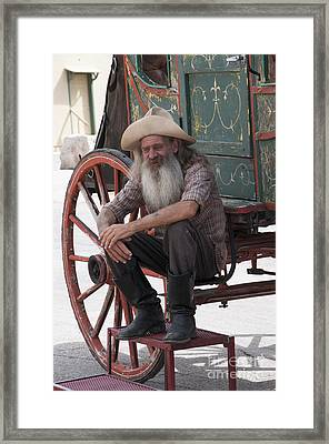 Old Timer Watching The Dying Of The West Framed Print