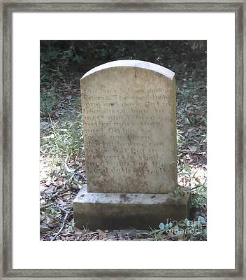 Old Tombstone  Framed Print by Cathy Lindsey