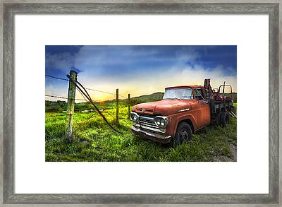 Old Tow Truck Framed Print by Debra and Dave Vanderlaan