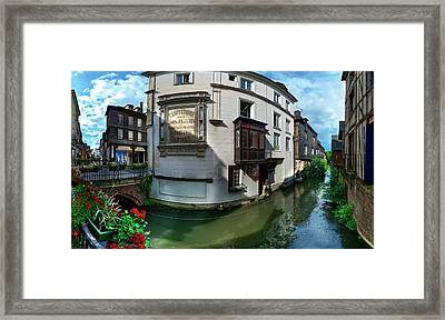 Old Town And Canal, Pont-audemer, Eure Framed Print