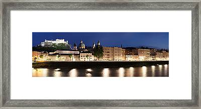 Old Town At Dusk, Hohensalzburg Castle Framed Print by Panoramic Images