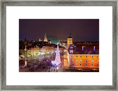 Old Town At Night In Warsaw Framed Print