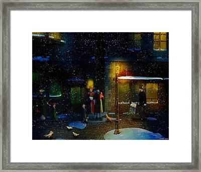 Old Town Christmas Eve Framed Print by Ken Morris