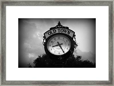 Old Town Clock Framed Print by Laurie Perry