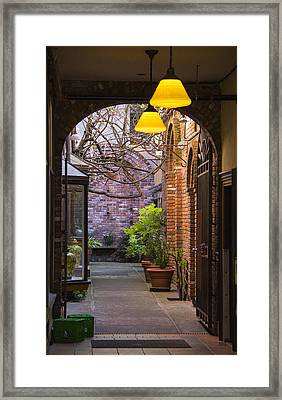 Old Town Courtyard In Victoria British Columbia Framed Print